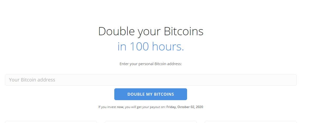 double your bitcoins in 100 hours