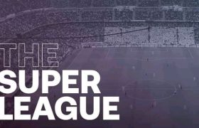 The banner of the super League - Manchester City and Chelsea